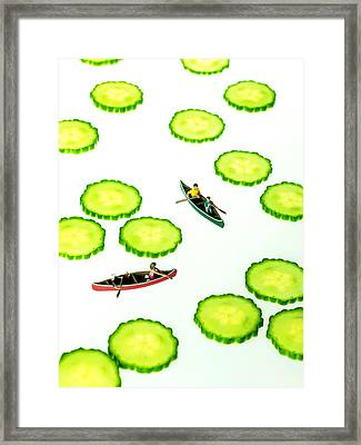 Boating Among Cucumber Slices Miniature Art Framed Print by Paul Ge