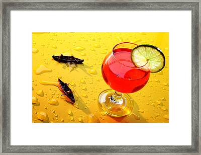 Boating Around A Red Cup Framed Print by Paul Ge