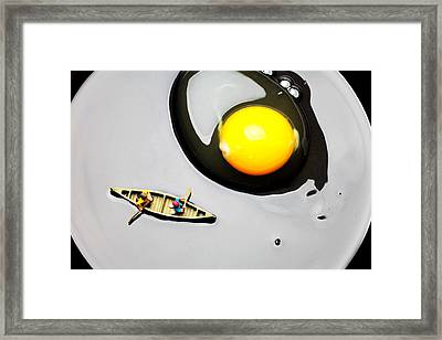 Boating Around Egg Little People On Food Framed Print by Paul Ge