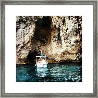 Boating In The Grotto Framed Print by H Hoffman