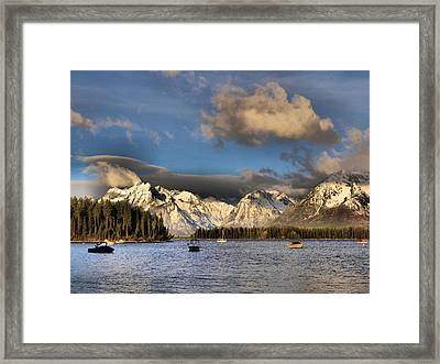Boating In The Tetons Framed Print by Dan Sproul