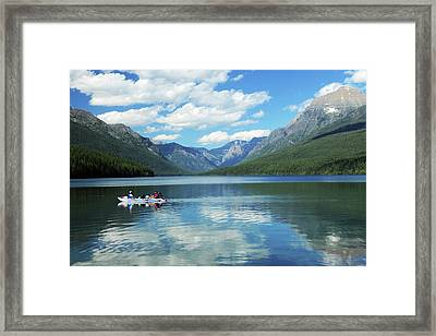 Boating On Bowman Lake, Glacier Framed Print by Michel Hersen