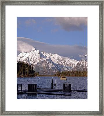 Boating On Jackson Lake In The Tetons Framed Print by Dan Sproul