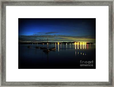 Boating - The Marina At Night Framed Print by Paul Ward