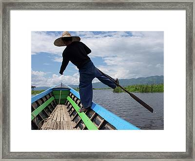 Boatman Rowing Boat With Distinctive Framed Print