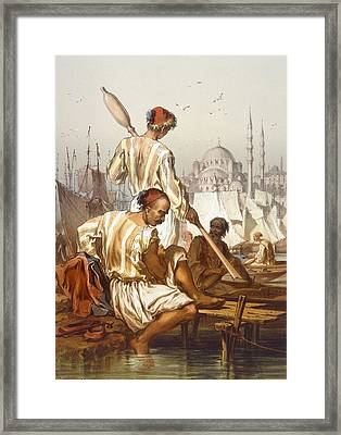 Boatmen, 1865 Framed Print by Amadeo Preziosi