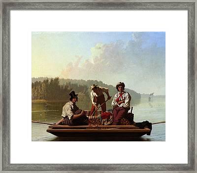 Boatmen On The Missouri Framed Print