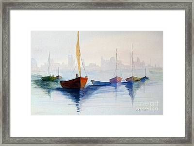 Boats Against The Skyline Framed Print
