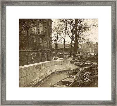 Boats Along A Quay During The Flooding Of Paris Framed Print