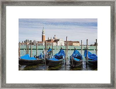 Boats Anchored At Marina Venice, Italy Framed Print