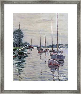 Boats Anchored On The Seine Framed Print by Gustave Caillebotte