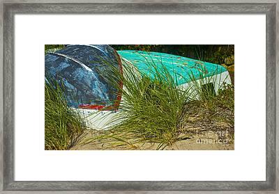 Boats And Beachgrass Framed Print by Amazing Jules