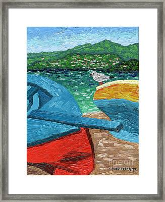 Framed Print featuring the painting Boats And Bird At Rest by Laura Forde