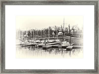Boats And Cottages In B/w Framed Print by Greg Jackson