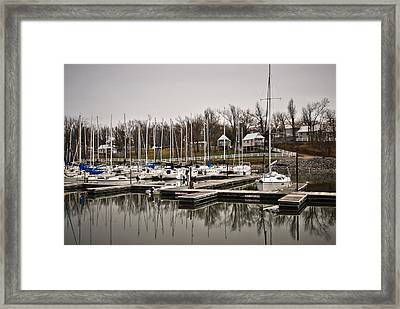 Boats And Cottages On Overcast Day Framed Print by Greg Jackson