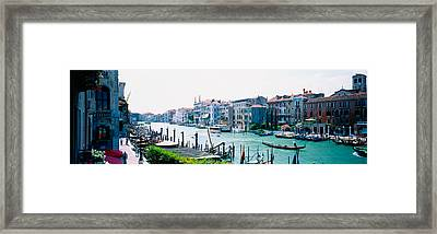 Boats And Gondolas In A Canal, Grand Framed Print