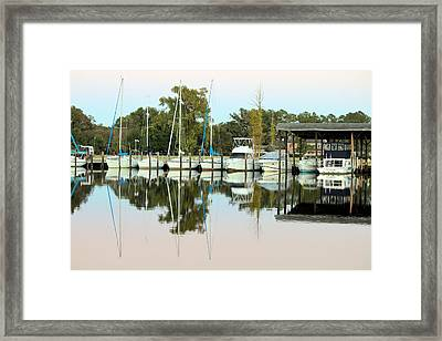Boats And Reflections Framed Print by Carolyn Ricks