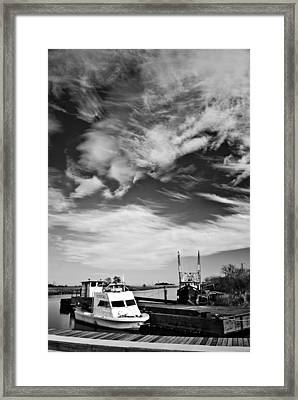 Boats And Sky Bw Framed Print