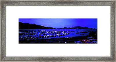 Boats At A Harbor, Capoliveri, Lacona Framed Print by Panoramic Images