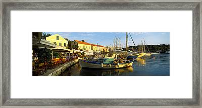 Boats At A Harbor, Fiscardo Harbour Framed Print