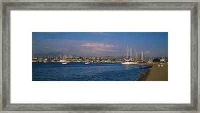 Boats At A Harbor, Newport Beach Framed Print