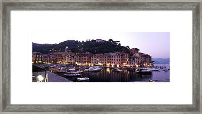 Boats At A Harbor, Portofino, Genoa Framed Print by Panoramic Images
