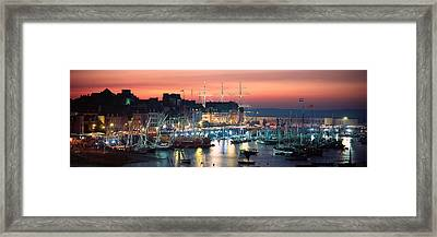Boats At A Harbor, Rosmeur Harbour Framed Print