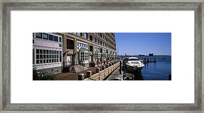 Boats At A Harbor, Rowes Wharf, Boston Framed Print