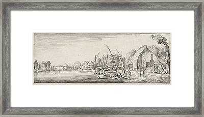 Boats At A Village On A River, Jan Van De Velde II Framed Print