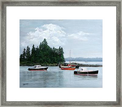 Framed Print featuring the painting Boats At Bar Harbor by Sandra Nardone