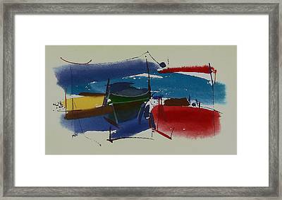 Boats At Dock Framed Print by Richard Hinger
