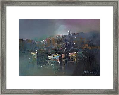 Boats At Dusk Framed Print by Branko Dimitrijevic