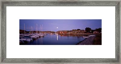 Boats At Harbor, Bohuslan, Gotaland Framed Print by Panoramic Images