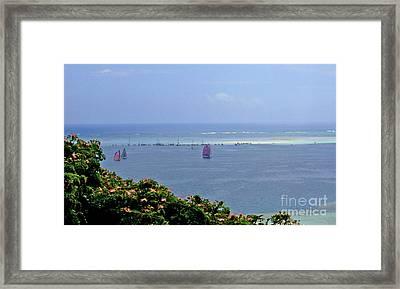 Framed Print featuring the photograph Boats At  Kaneohe Bay Sandbar In Hawaii by Mukta Gupta