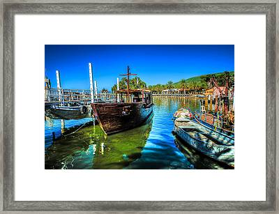 Boats At Kibbutz On Sea Galilee Framed Print