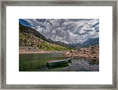 Boats At Lake Sabrina Framed Print by Cat Connor
