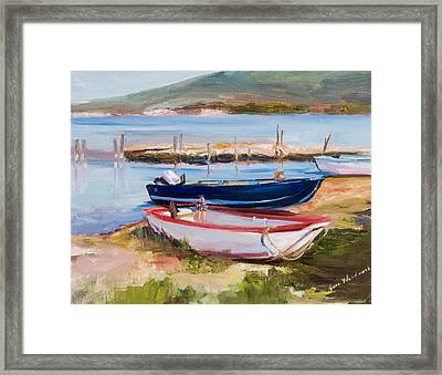 Boats At Lake Tresimeno Framed Print by Jane Woodward