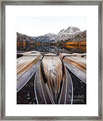Boats At Mountain Lake In Autumn Fine Art Photograph Print Framed Print