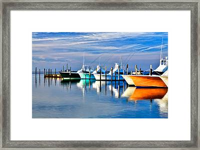 Boats At Oregon Inlet Outer Banks II Framed Print by Dan Carmichael