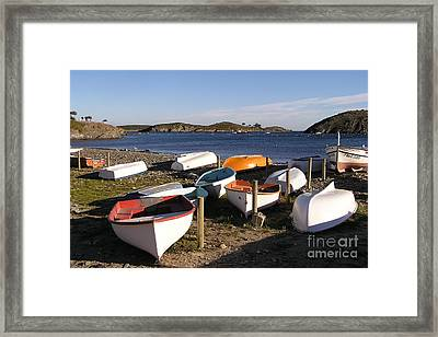 Boats At Port Lligat Framed Print