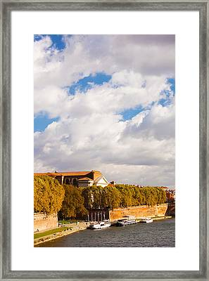 Boats At Quai De La Daurade, Toulouse Framed Print by Panoramic Images