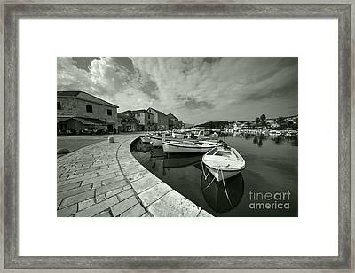 Boats At Stari Grad  Framed Print by Rob Hawkins