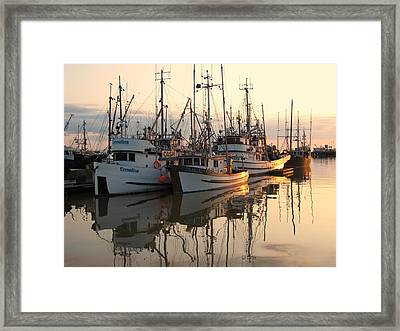 Boats At Steveston Harbour  Framed Print by Shirley Sirois