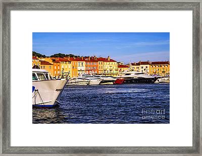 Boats At St.tropez Harbor Framed Print by Elena Elisseeva