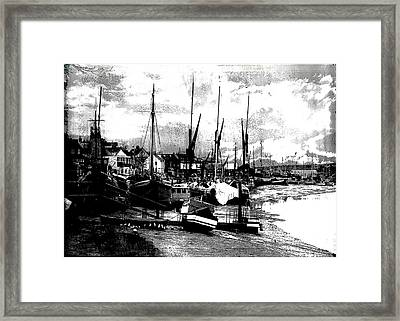 Framed Print featuring the digital art Boats At Sundown  by Fine Art By Andrew David
