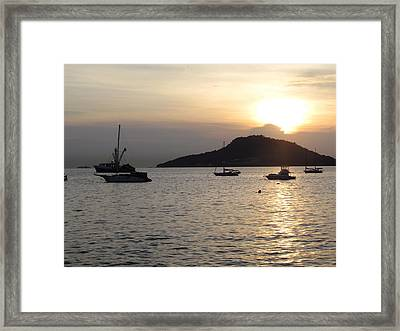 Boats At Sunrise Framed Print