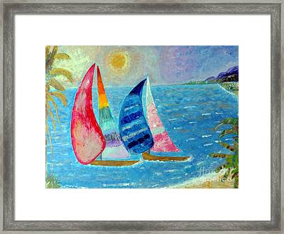 Framed Print featuring the painting Boats At Sunset 2 by Vicky Tarcau