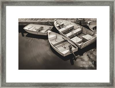 Boats At The Dock Framed Print by Diane Diederich