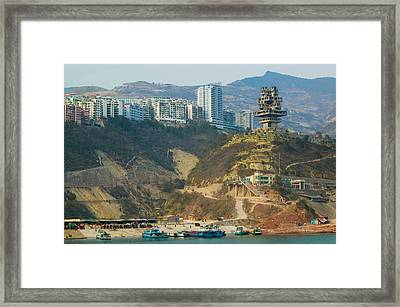 Boats At The Port With A Newly Built Framed Print by Panoramic Images