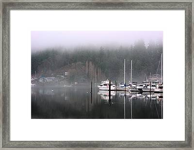 Boats Between Water And Fog Framed Print by John Rossman